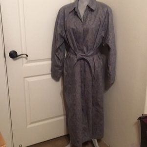 London Fog Long Trench Raincoat Grey Floral Size14